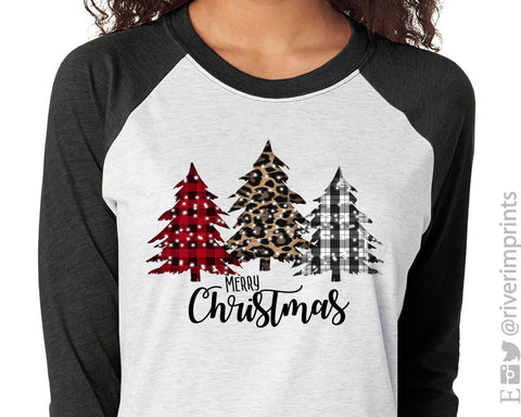 MERRY CHRISTMAS Plaid Trees Sublimated Triblend Raglan by River Imprints