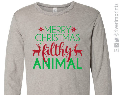 MERRY CHRISTMAS YA FILTHY ANIMAL Vintage Jersey Long Sleeve Tee - READY TO SHIP