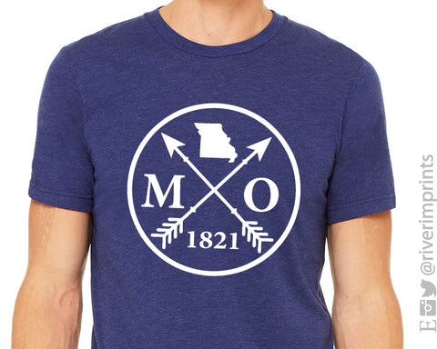 MO 1821 Missouri Graphic Triblend Tee by River Imprints