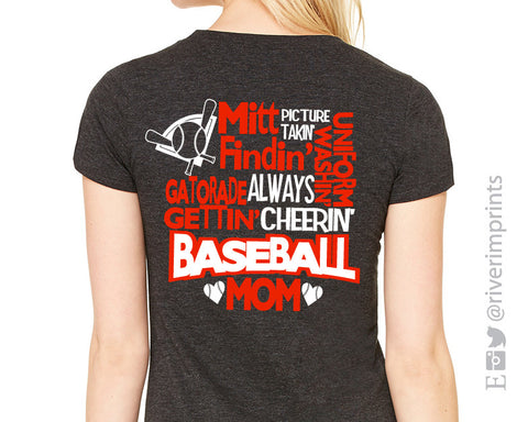 Add Baseball Mom Quote 2-color Back to any shirt