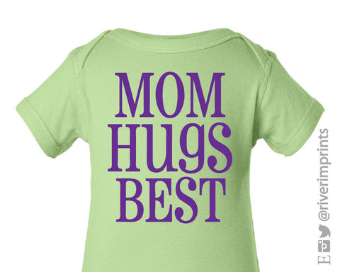 Baby MOM HUGS BEST short sleeve bodysuit/creeper