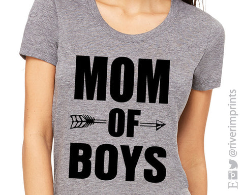 MOM OF BOYS Graphic Triblend Tee by River Imprints