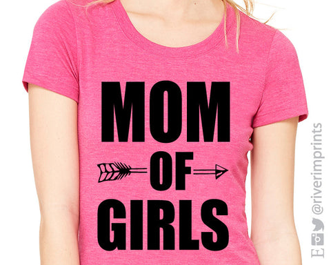 MOM OF GIRLS Graphic Triblend Tee by River Imprints