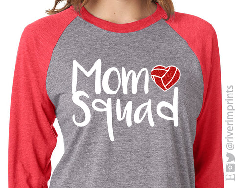 MOM SQUAD Volleyball Glittery Triblend Raglan by River Imprints