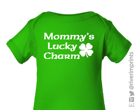Baby MOMMY'S LUCKY CHARM, boy or girl St. Patrick's Day bodysuit one piece