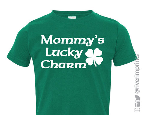 Toddler MOMMY'S LUCKY CHARM, toddler boy or girl St Patricks Day tshirt