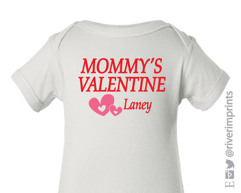 Baby MOMMYS VALENTINE, personalized baby one piece bodysuit