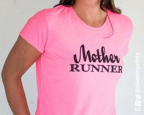 MOTHER RUNNER Glittery Performance Tee by River Imprints