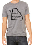 Mushroom Capital of the World Richmond Missouri Graphic Triblend T-shirt by River Imprints