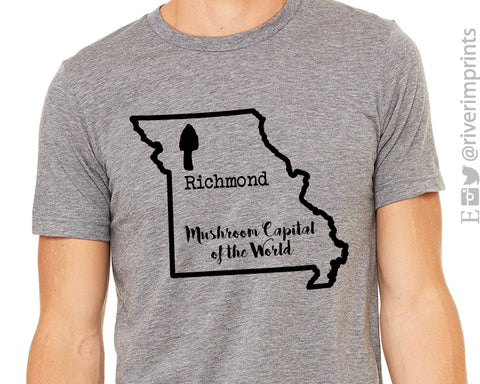 Mushroom Capital of the World Richmond Missouri Graphic Triblend Tee by River Imprints