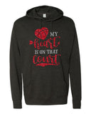 MY HEART IS ON THAT COURT Glittery Hooded Sweatshirt or Tee
