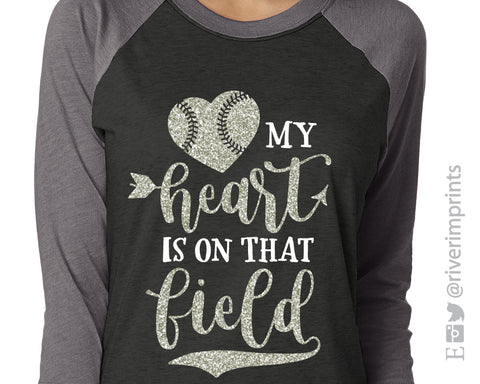 My Heart is on That Field Glittery Triblend Baseball Raglan