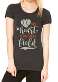 MY HEART IS ON THAT FIELD Glittery Triblend T-shirt by River Imprints