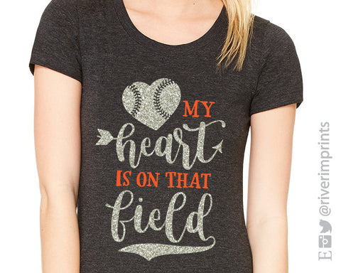 MY HEART IS ON THAT FIELD Glittery Triblend Tee by River Imprints