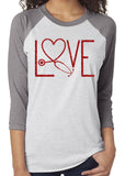 NURSE LOVE Glittery Triblend Raglan Tee by River Imprints