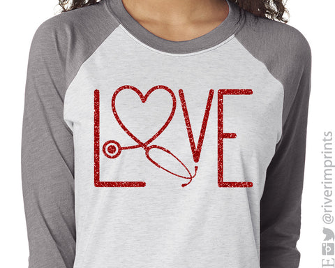NURSE LOVE Glittery Triblend Raglan by River Imprints