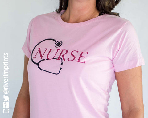 NURSE, sparkly Stethoscope 2-color glitter shirt