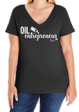 OIL ENTREPRENEUR Curvy Collection Women's V-neck Tee