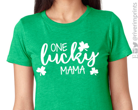 ONE LUCKY MAMA Graphic Triblend Tee St Patricks Day