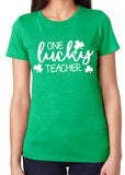ONE LUCKY TEACHER Graphic Triblend Tee