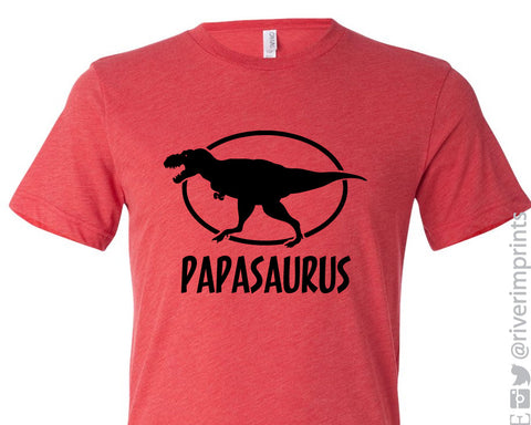 PAPASAURUS Personalized Triblend Tee by River Imprints