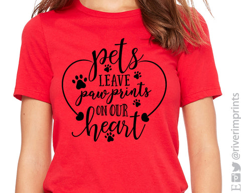 PETS LEAVE PAW PRINTS ON OUR HEART Triblend Graphic Tee