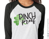 PINCH PROOF Plaid Shamrock Raglan Unisex Triblend Tee