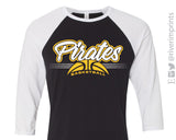 PIRATES BASKETBALL School Mascot Triblend Raglan Shirt