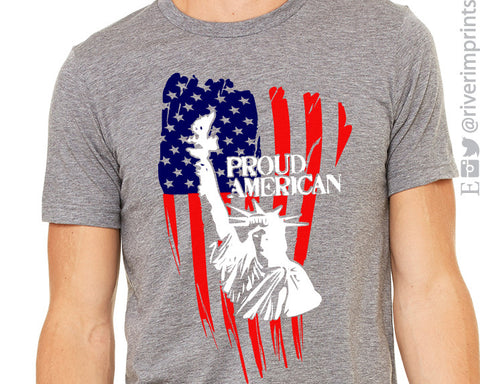 PROUD AMERICAN FLAG Graphic Triblend Tee