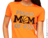 PROUD BASKETBALL MOM OF #, personalized glitter shirt