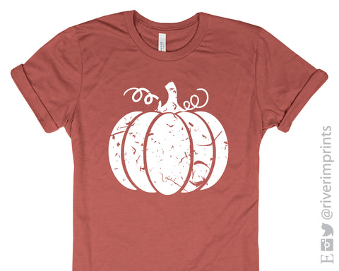 Distressed Pumpkin Graphic Blend Tee