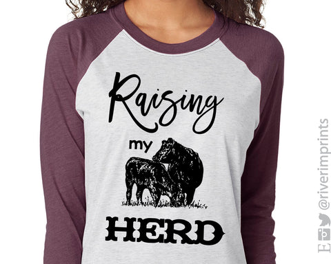 RAISING MY HERD Sublimated Triblend Raglan by River Imprints