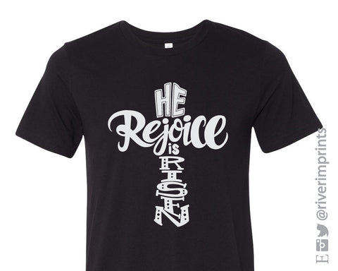 REJOICE, He Is RISEN, short sleeve tee shirt, Easter shiny foil Jesus t-shirt