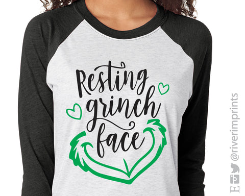 RESTING GRINCH FACE Glittery Triblend Raglan by River Imprints
