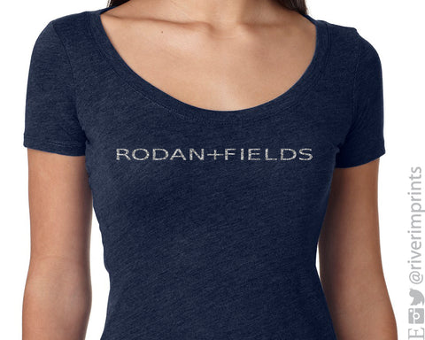 RODAN AND FIELDS Glittery Fitted Scoopneck Triblend Tee