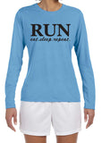 RUN EAT SLEEP REPEAT Long Sleeve Performance Tee