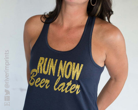 RUN NOW BEER LATER Glittery 2-sided Flowy Tank