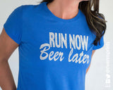 RUN NOW, BEER LATER Glittery Performance Tee by River Imprints