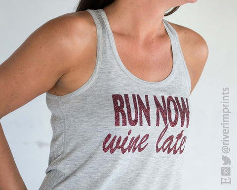 RUN NOW, WINE LATER Glittery 2-sided Flowy Tank