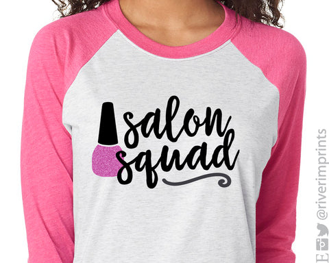 SALON SQUAD Glittery Triblend Raglan by River Imprints