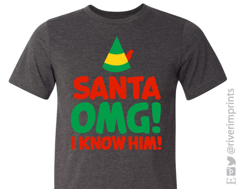 SANTA OMG! I KNOW HIM Graphic Blend Tee - READY TO SHIP