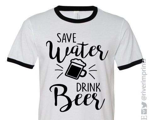 SAVE WATER DRINK BEER, graphic ringer tee shirt