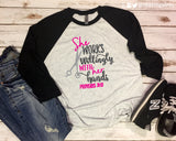 SHE WORKS WILLINGLY WITH HER HANDS Glittery Triblend Raglan
