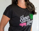 SHOW MOM 4H clover, glittery sparkle tee shirt by River Imprints