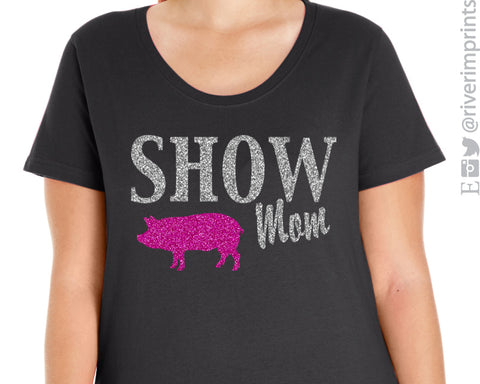 SHOW MOM Glittery Curvy Collection Woman's Scoopneck Tee