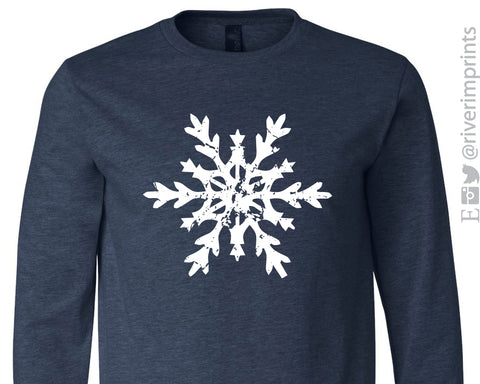 SALE - SNOWFLAKE Long Sleeve Triblend Tee Shirt