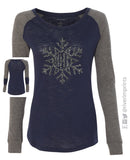 Snowflake Monogram Glittery Patched Elbow Blend Raglan