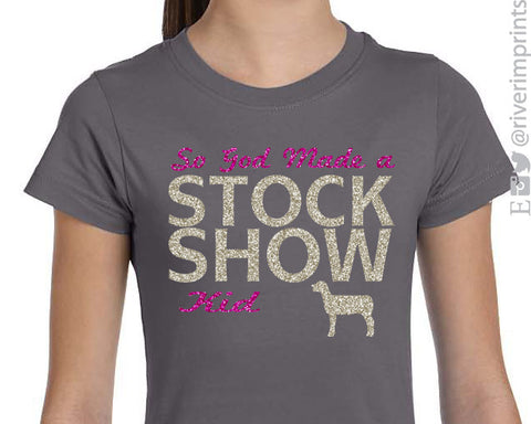 SO GOD MADE A STOCK SHOW KID Girls Glittery Sheep Tee