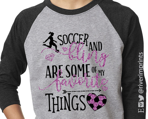 SOCCER AND BLING, glitter youth raglan