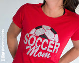 SOCCER MOM Glittery Cotton Tee River Imprints